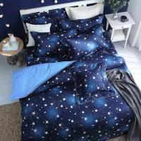 艾莉絲-貝倫 閃耀星空(3.5x6.2呎)五件式單人(100%純棉)鋪棉床罩組-藍色