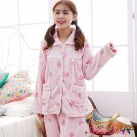 Pink Lady 草莓派對保暖法蘭絨排扣成套睡衣 (粉)9188-3