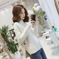 adora 款韓版半高領開叉長袖寬鬆加厚針織衫(4色)