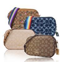 COACH 經典款織布寬背帶/鏈帶相機斜背包(4色選)