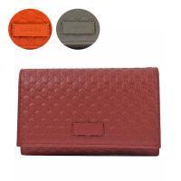 GUCCI 449396 經典小雙G LOGO皮革壓紋扣式長夾.3色可選(紅/灰/橘)