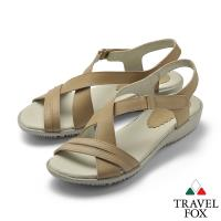 TRAVEL FOX(女) 希臘的風 牛皮舒適交叉綁帶微跟休 閒涼鞋 - 休閒棕