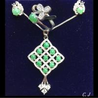 天然A貨 緬甸玉 翡翠 綠蛋面鑲嵌華麗款方塊套組 925銀白金色-品澐珠寶
