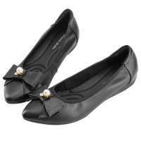 Robinlo 甜美浪漫蝴蝶結珍珠飾扣尖頭平底鞋 PIKIA-黑色