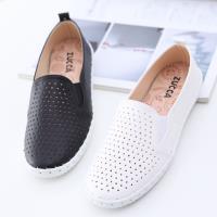 ZUCCA【z6520】日系舒適透氣洞平底鞋-黑色/白色