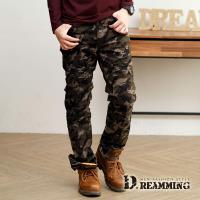 【Dreamming】潮流時尚抓皺迷彩休閒中直筒長褲(軍綠)