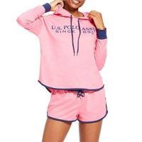 US Polo 女時尚粉紅色連帽運動衫短褲睡衣套組
