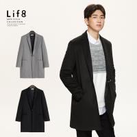 Life8-Formal 親膚羊毛 金屬釦大衣-黑色/灰色-11183