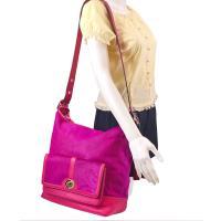 COACH 限量款Legacy細毛小牛皮水桶包-紫紅色