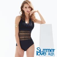 夏之戀SUMMERLOVE 性感蕾絲大女連身三角泳衣E18708