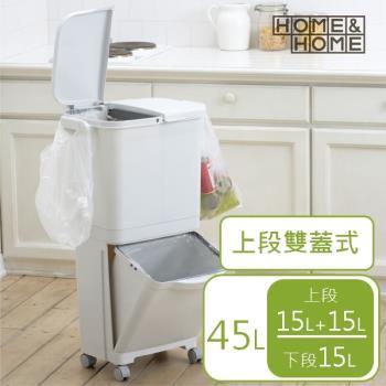 日本 RISU HH直立雙層分類附輪(雙蓋)式垃圾桶 45L