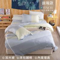 夢工場 獨立小調天絲頂規款兩用被鋪棉床包組-雙人