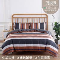 夢工場 淬鍊風采天絲頂規款兩用被鋪棉床包組-加大