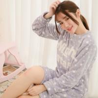 lingling日系 毛線刺繡星星水貂絨連身裙睡衣(全尺碼)