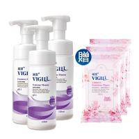 VIGILL 婦潔-加強乳酸 私密柔淨慕絲3入組(120ml/3瓶/加贈生理潔舒巾X3)
