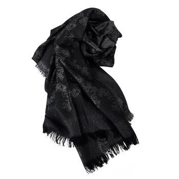 COACH 經典馬車LOGO羊毛微醺閃披肩/圍巾-灰黑