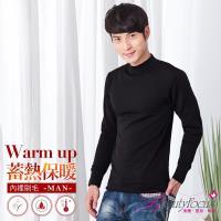 BeautyFocus 男立領刷毛蓄熱保暖衣-黑色(5590)