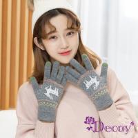 【Decoy】聖誕馴鹿*男女保暖針織觸控手套/灰