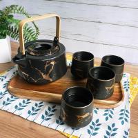 Homely Zakka 北歐時尚大理石陶瓷茶壺附杯托盤套組(黑色)