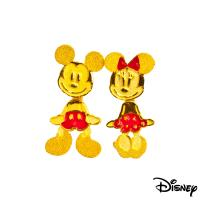 Disney迪士尼系列金飾 黃金耳環-搖擺米奇美妮全身款