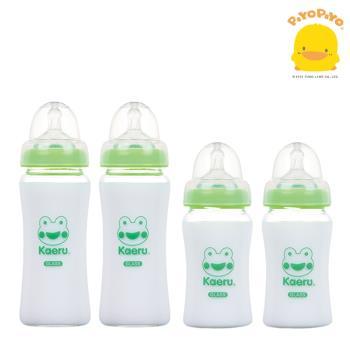 黃色小鴨 Piyo Piyo -哈皮蛙寬口葫蘆玻璃奶瓶-180ml*2+ 哈皮蛙寬口葫蘆玻璃奶瓶-280ml*2