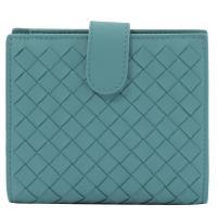 BOTTEGA VENETA 121059 編織小羊皮扣式中夾.藍綠