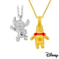 Disney迪士尼系列金飾 立體純銀墜子-焦點史迪奇款+立體黃金墜子-樂活維尼款 送項鍊