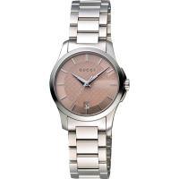 GUCCI G-Timeless 古馳菱格紋時尚腕錶-粉紅/27mm YA126524