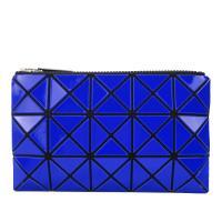 ISSEY MIYAKE 三宅一生 BAOBAO 3x5幾何方格長型亮面零錢手拿包-深藍