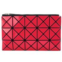 ISSEY MIYAKE 三宅一生 BAOBAO 3x5幾何方格長型亮面零錢手拿包-紅