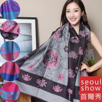 Seoul Show首爾秀 藏傳花間 仿羊絨雙面提花圍巾披肩