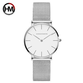 【HANNAH MARTIN】經典極簡設計感米蘭帶腕錶-銀/36mm(HM-CB36-WYY)
