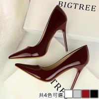 Alice 時尚尖頭顯瘦漆皮高跟鞋