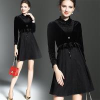 歐風KEITH-WILL 秋冬高貴典雅黑色絲絨長袖洋裝