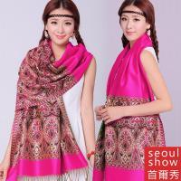 Seoul Show首爾秀 波西風情純棉編織圍巾 玫紅