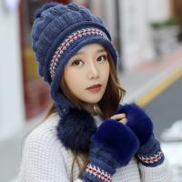 Acorn*橡果-韓系針織保暖護耳毛帽+手套1809(兩件組-藍色)