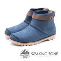 WALKING ZONE 皮革車縫拉鍊短靴 女鞋 - 藍 (另有紅、黃棕)