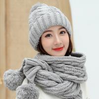 Acorn*橡果-韓系針織保暖加絨毛帽+圍巾1803(兩件組-灰色)