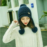 Acorn*橡果-韓系蝴蝶結大毛球保暖護耳毛帽1804(藍色)