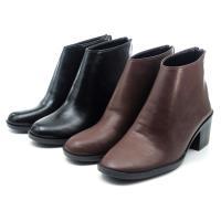 【 cher美鞋】MIT個性簡約低跟百搭短靴-黑色/咖色 36-40碼 0890139514-18