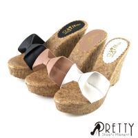 Pretty 蝴蝶結仿木質紋楔形拖鞋BA-2C123
