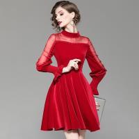 RN-girls-精品中國風純色絲絨長袖旗袍洋裝小禮服