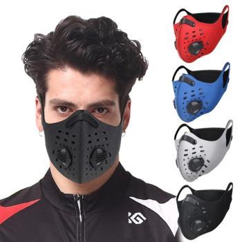 活力揚邑-耳掛純色戶外運動機車防風防塵防霾多重防護氣閥立體口罩