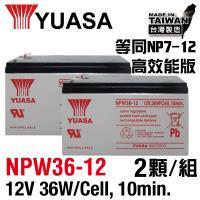 YUASA湯淺NPW36-12 x2顆組(12V36W)閥調密閉式鉛酸電池~同REW45-12尺寸高放電率