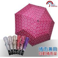 Kasan 三折防風自動開收晴雨傘(桃色圈圈)
