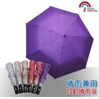 Kasan 三折防風自動開收晴雨傘(紫色圓點)