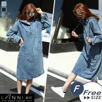 LANNI 藍尼-個性雙口袋寬鬆牛仔洋裝 (2色)