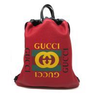 【GUCCI】 經典 Small Print Drawstring Backpack 手提/後背包-小 (523586-紅)