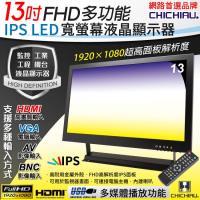 【CHICHIAU】13吋多功能IPS LED寬螢幕液晶顯示器(AV、BNC、VGA、HDMI、USB)