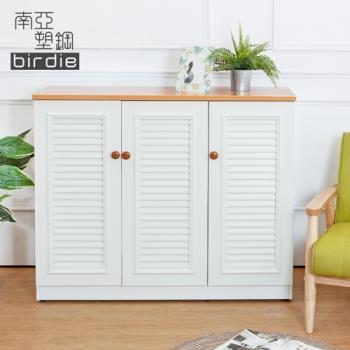 Birdie南亞塑鋼-4尺三門塑鋼百葉鞋櫃(原木色+白色)